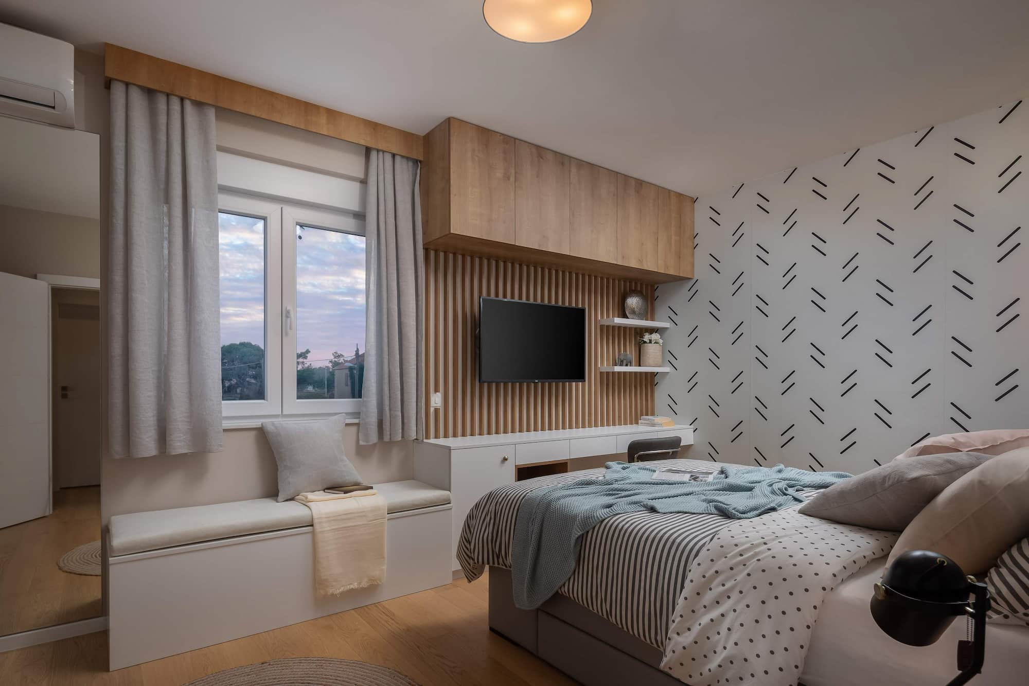 Vila za odmor s bazenom u Hrvatskoj, spavaća soba s krevetom za jednu osobu